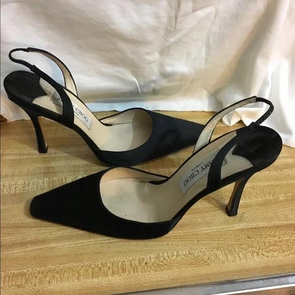 Jimmy Choo Slingback Satin Shoes Square